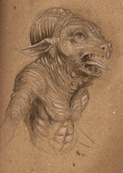 Rhinoptian Creature Design Sketch